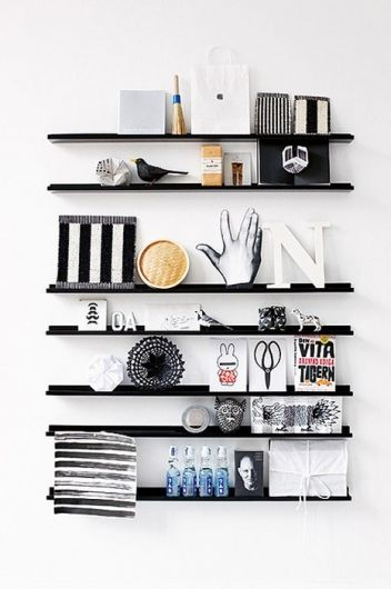 black shelving against white walls | home ideas | home decor