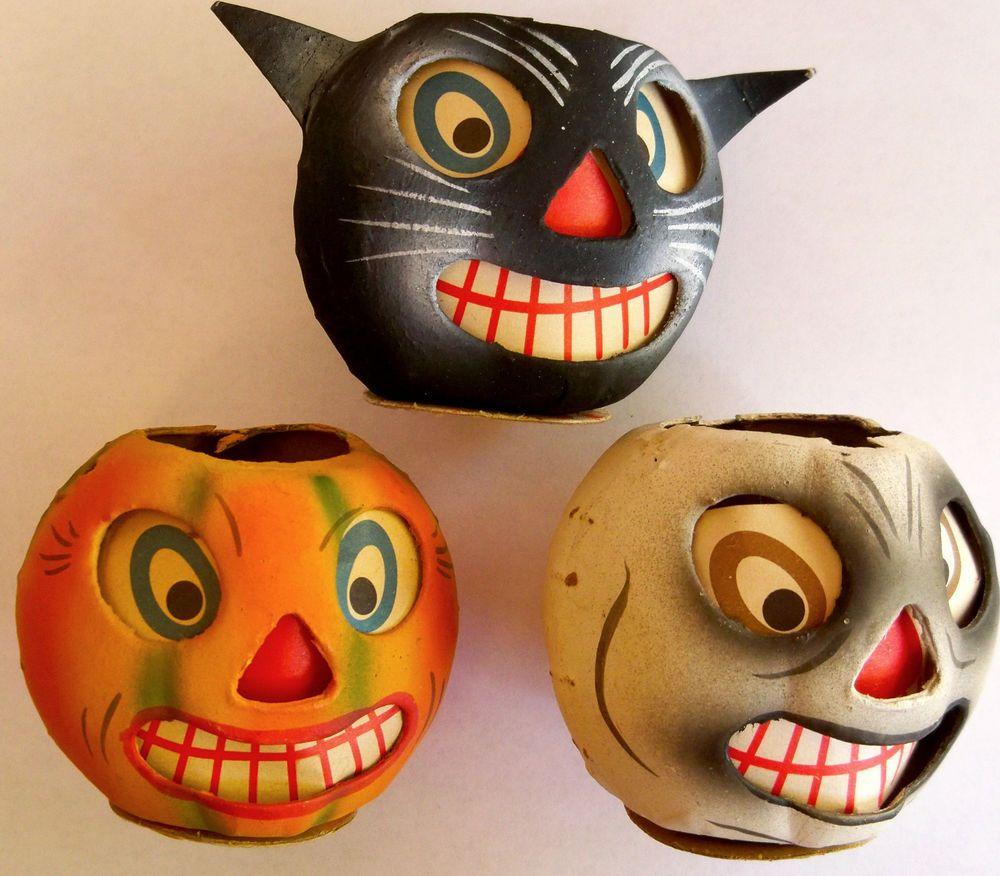3 Vintage German Halloween Paper Mache Lanterns Jack O Lantern Black Cat Ghost Halloween Jack O Lanterns Vintage Halloween Halloween Jack