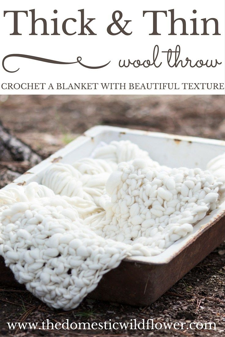 How to Crochet a Thick and Thin Wool Throw Blanket | Manta gruesa ...