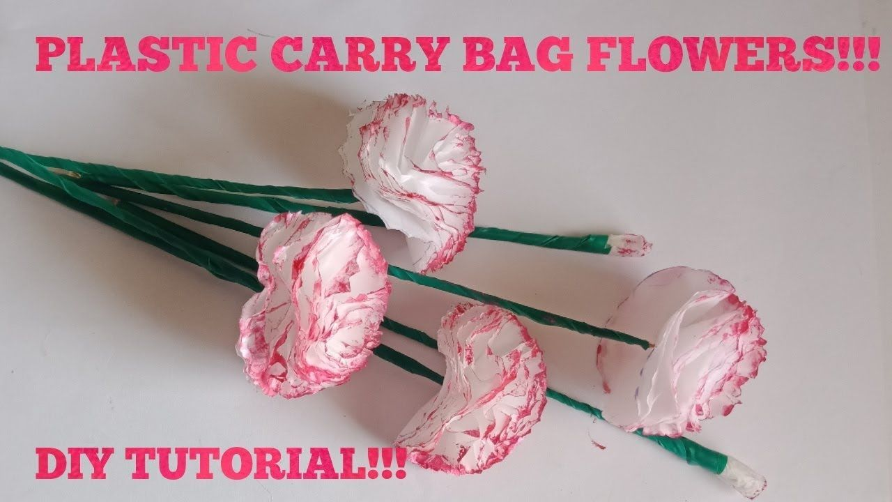 Thin Carry Bag Carnation Flower Making Tutorial Best Of Waste Plastic Bag Crafts Making Fabric Flowers Plastic Flowers
