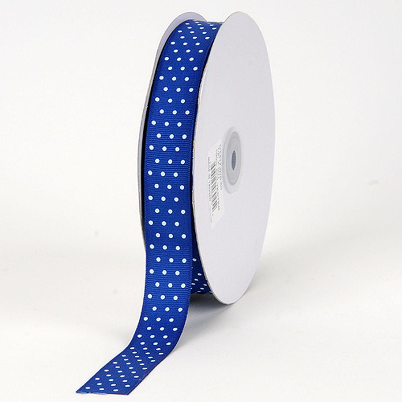 "5 yards 3//8/"" Blue Swiss Polka Dot Grosgrain Ribbon"