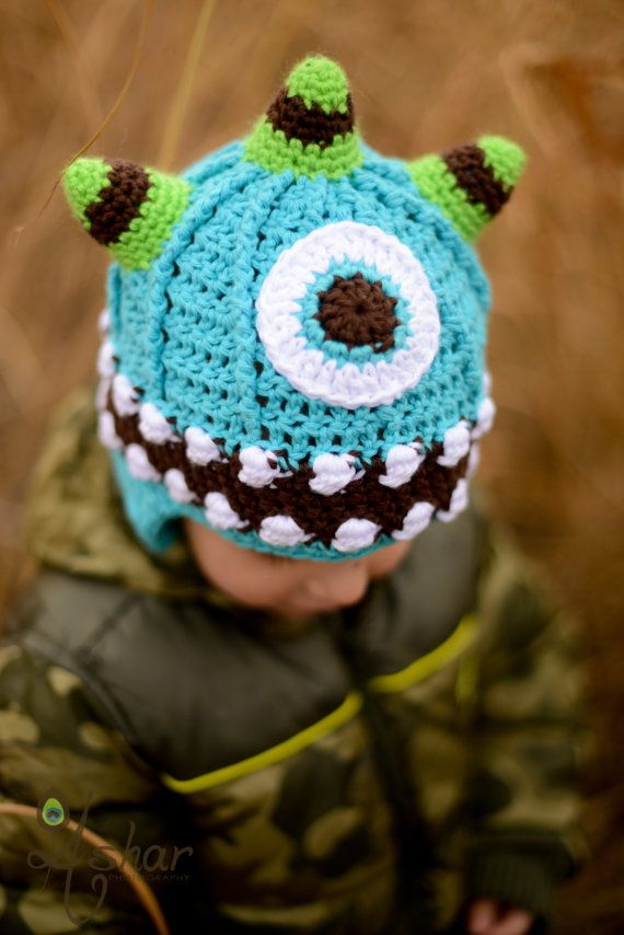 Crochet Pattern / One Eyed Monster Hat by LemonBerryCrochet on Etsy, $5.00