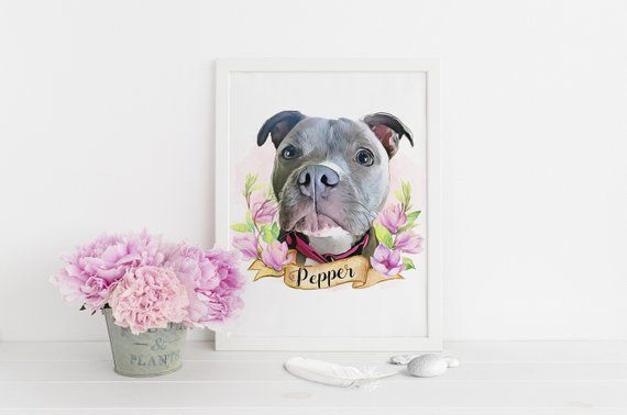 Custom Pet Portrait Floral Personalized Gift For Dog Mom Best Friend Birthday Pe