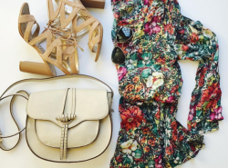 bbianca saddle bag, hinge dress, sam edelman heels