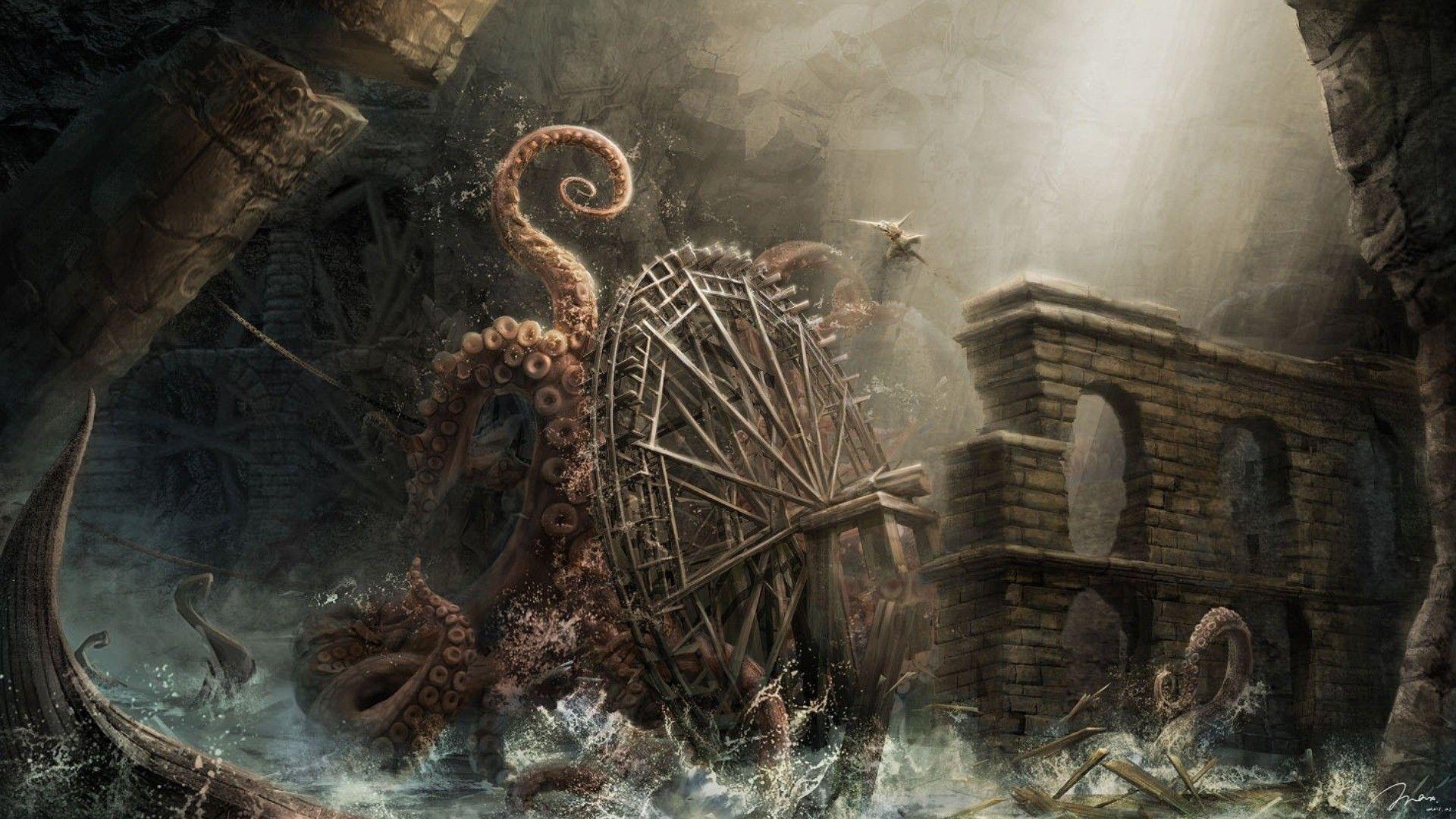 Mill Octopus Wallpaper No 184432 Kraken Octopus Pictures Mythical Creatures