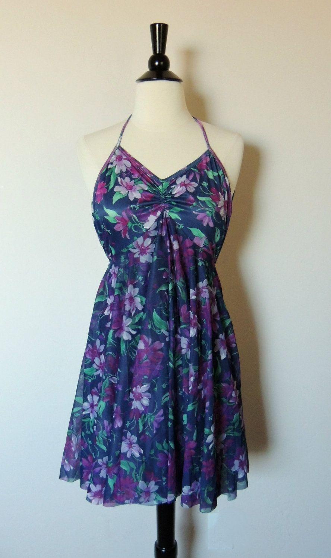 Vintage 70s Floral Summer Pool Dress or Swimsuit. $18.00, via Etsy.