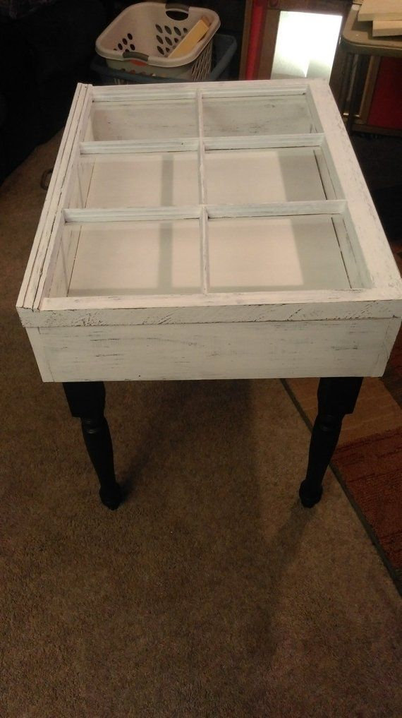 On Old Window End Table Shadow Box Accent Rustic