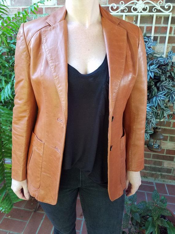 3769ada73984 70s Leather Blazer, Womens Leather Blazer, Vintage Brown Leather, Brown Leather  Blazer, Brown Leather Jacket, Womens Leather Jacket   Ruby House Vintage ...