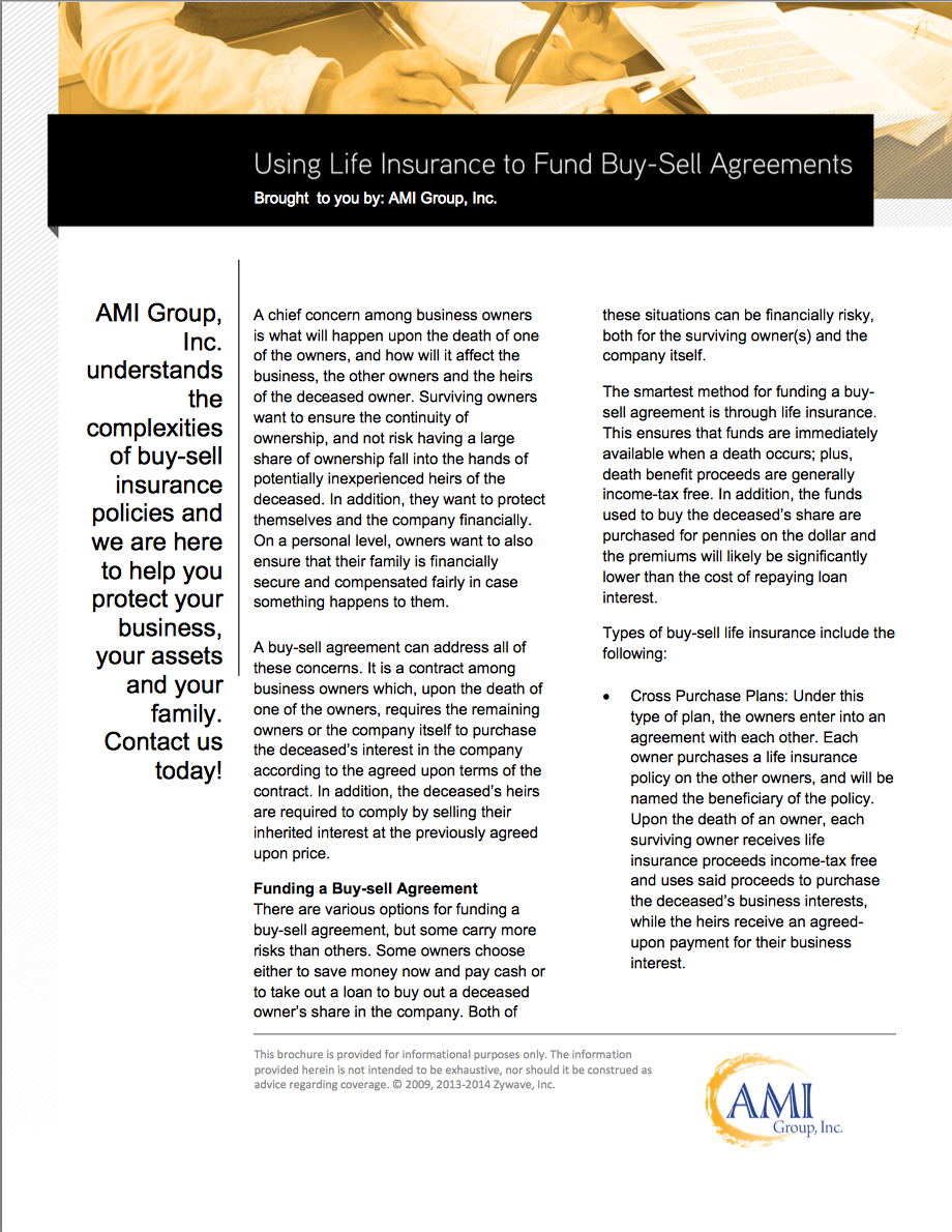 AMI Group, Inc. understands the complexities of buy-sell ...