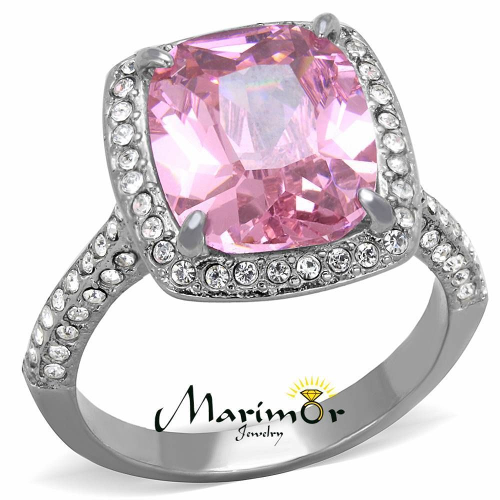 6.38 Ct Emerald Cut Rose Zirconia Stainless Steel Halo Engagement ...