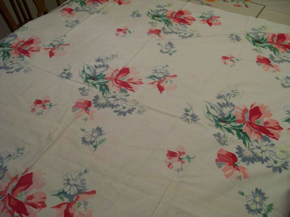 Retro Flowered Tablecloth Vintage 1950s Pinks by FabVintageEstates