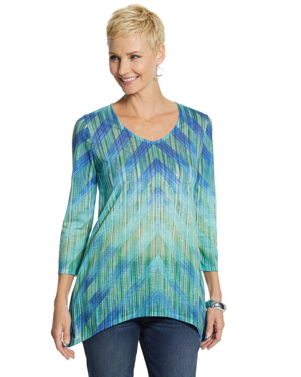 4c429375513 Chico's Women's Sally Ombre Stripe Knit Top   Products   Striped ...