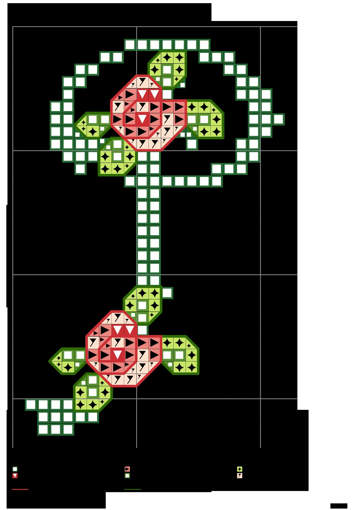 Alfabeto verde con rose: P