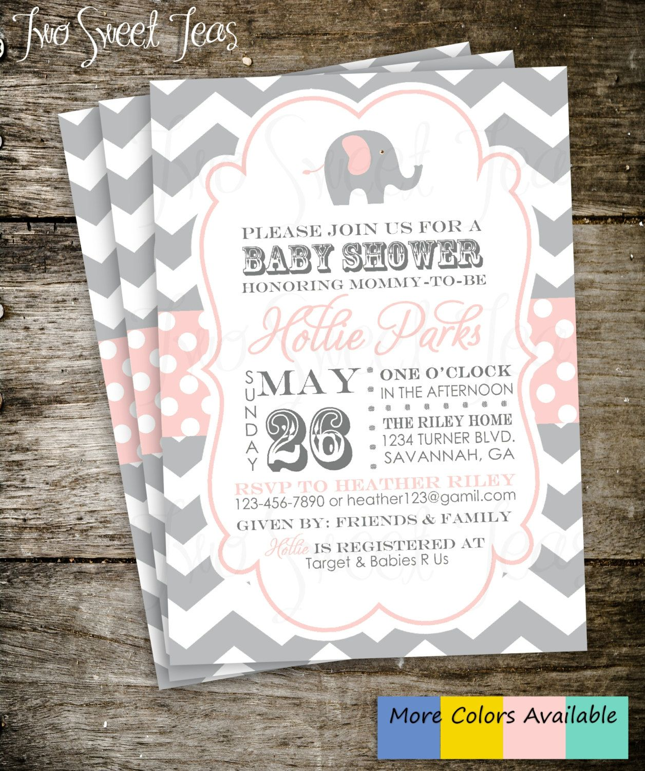 Elephant Baby Shower Invitation Chevron Gray Pink by 2SweetTeas ...