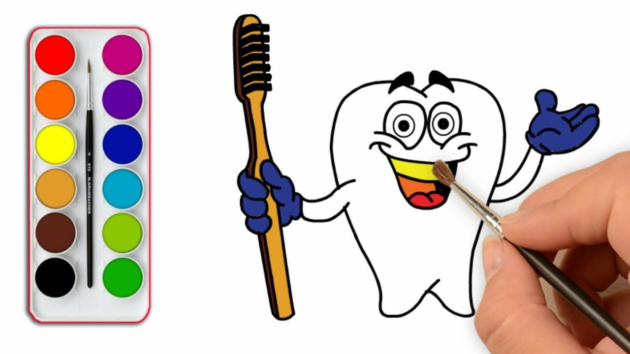 Teeth And Toothbrush Coloring Pages H Drawing For Kids