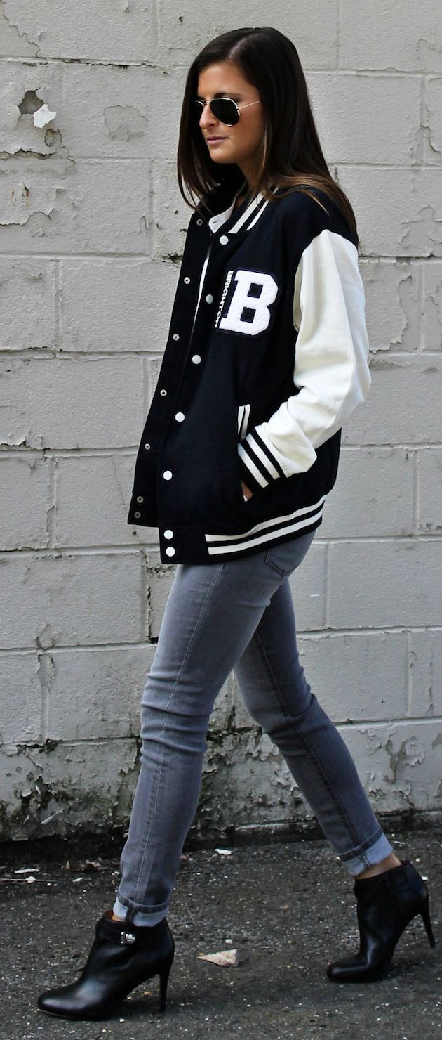 Black And White Baseball Jacket Fashion Clothes Women Baseball Jacket Outfit Casual Fashion