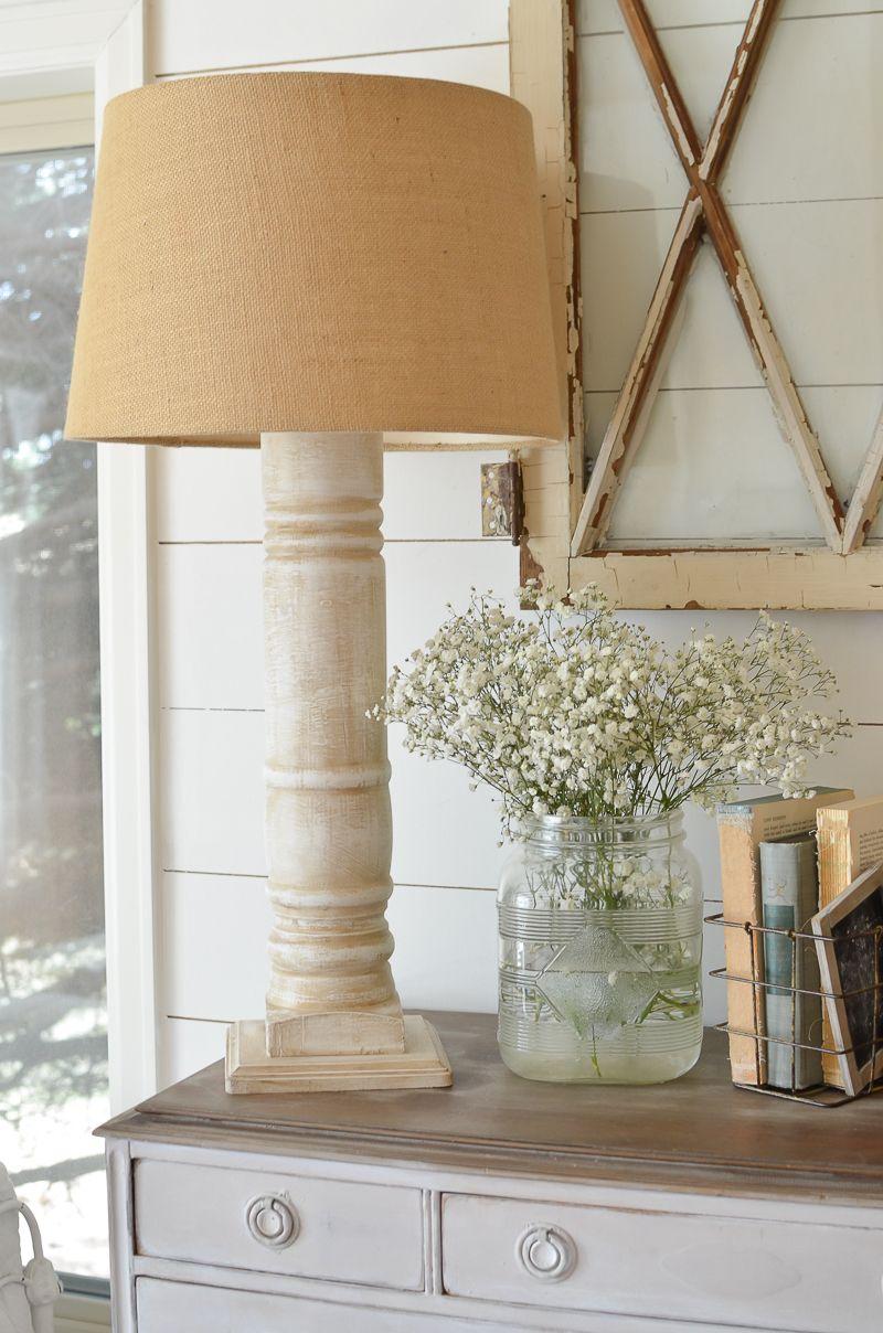 A Simple DIY Farmhouse Style Lamp Farmhouse lamps, Foyer