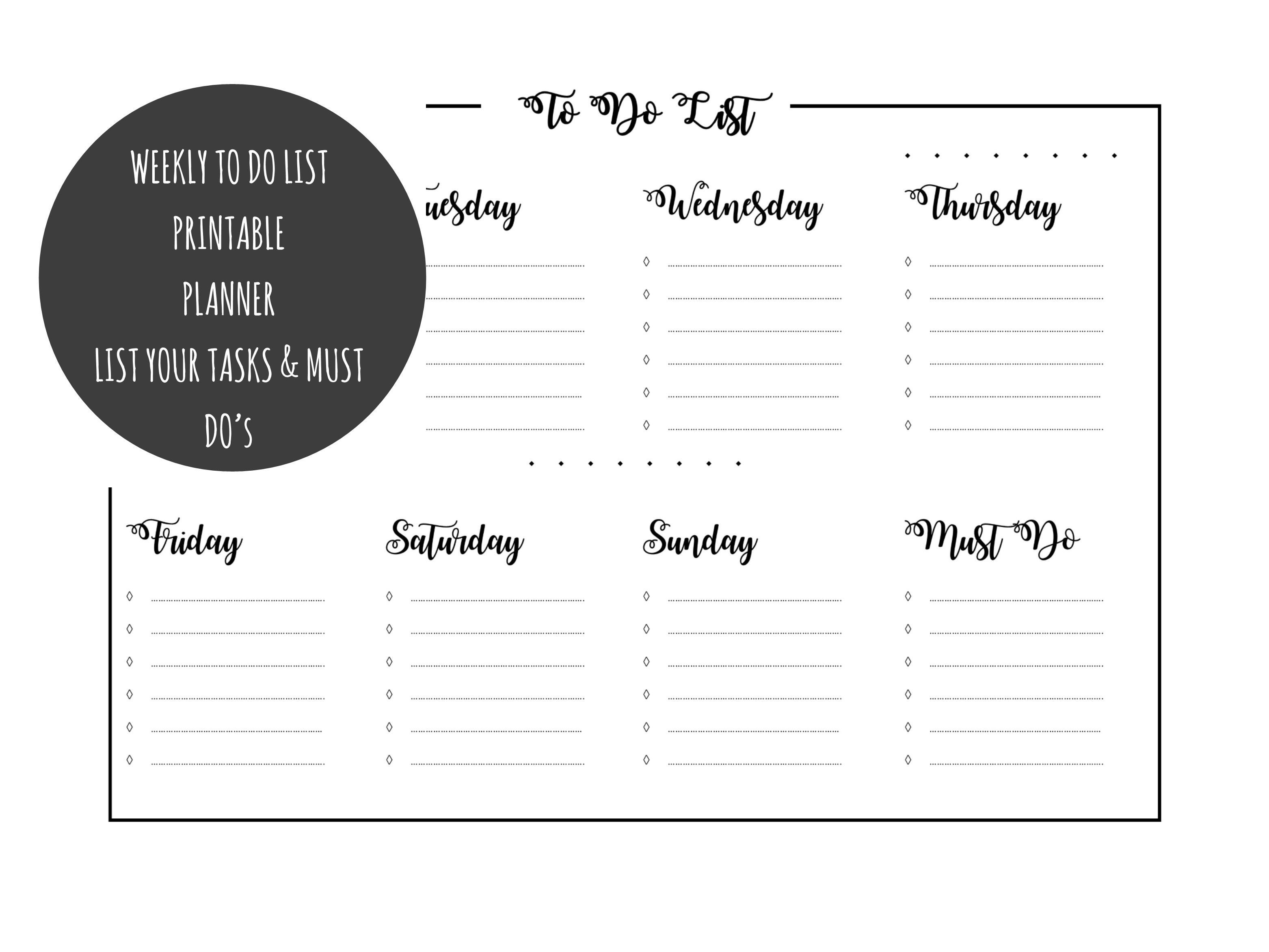 Weekly Printable To Do List With Must Do Section And Daily