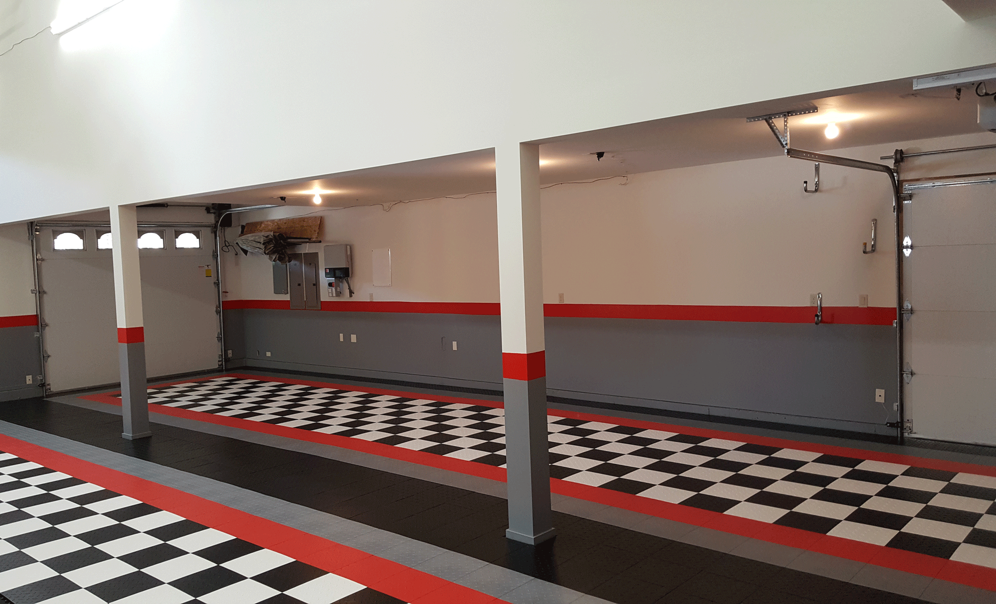 David C Black And White Red Border Garage Tile Garageflooringllc