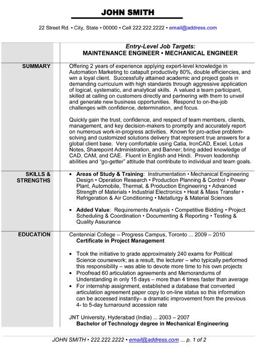 Generator Test Engineer Sample Resume Mechanical Engineer Resume For Fresher  Mechanical Engineer
