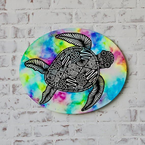 Canvas Turtle Alcohol Ink | Pineapple painting, Art ...