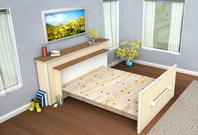 2019 年の「布団までしまえる究極の省スペースベッドをdiy ベッド」 ベッド、省スペース、壁面収納ベッド