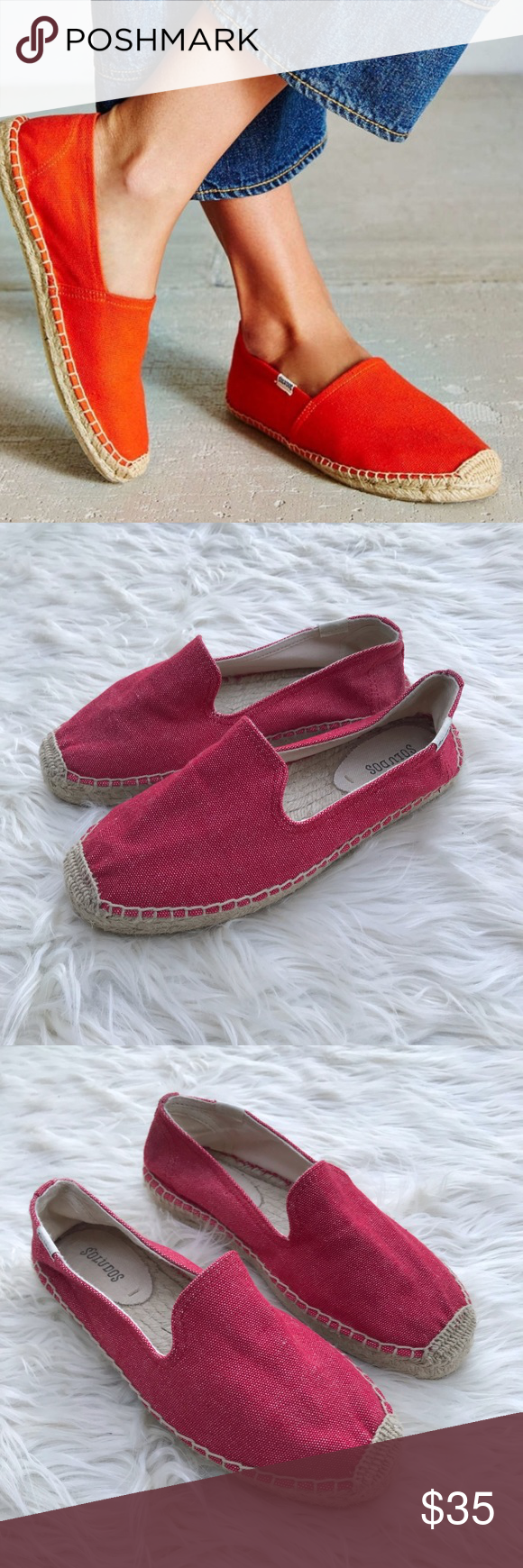 1cbaefcc7079 Soludos Red Dali Espadrille Slip Ons Size 7.5 Soludos Red Dali Espadrille  Slip Ons Size 7.5 Great condition Soludos Shoes Espadrilles