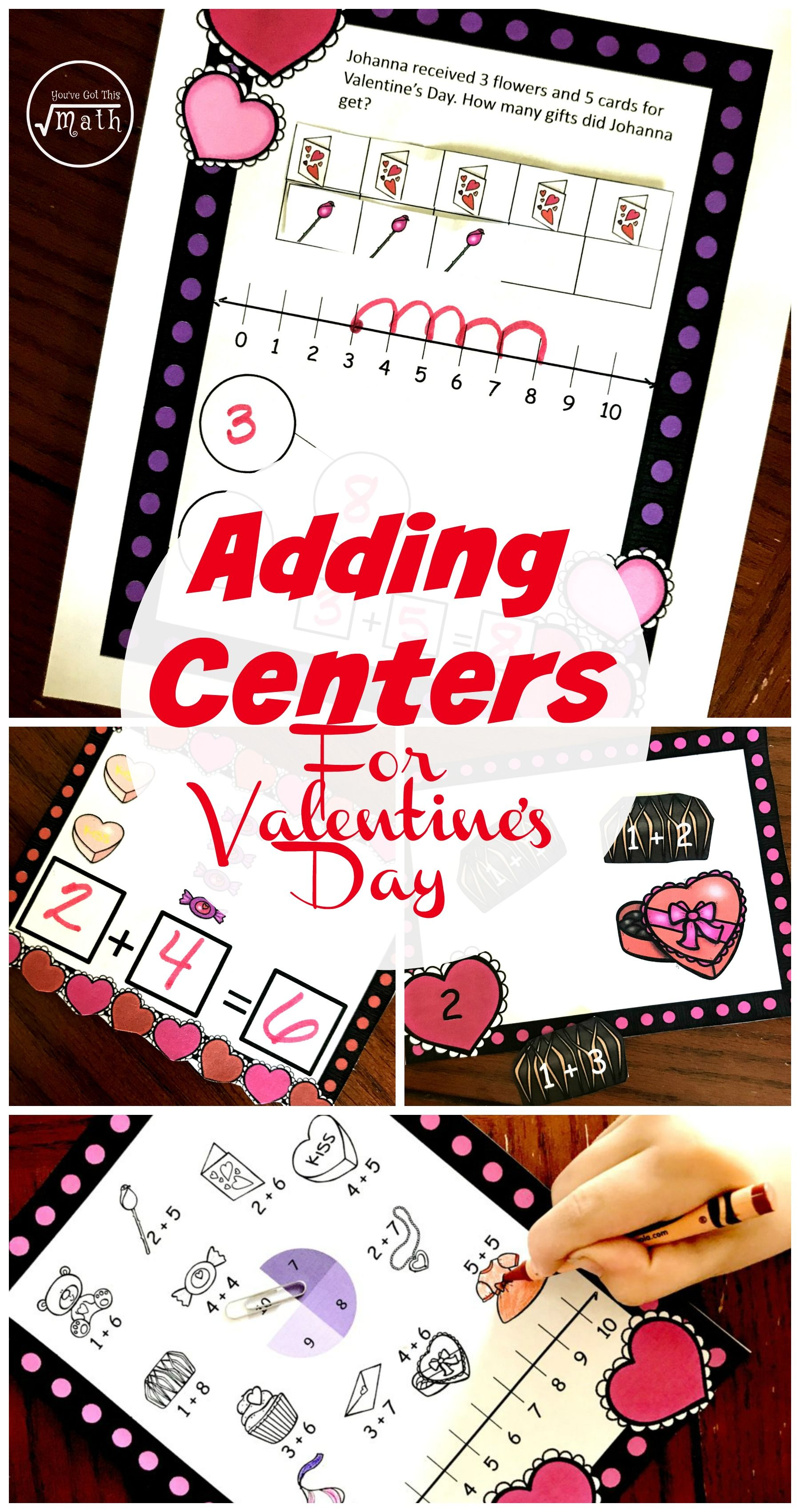 Adding Withing 10 Valentine S Day Math Centers K Oa A 2