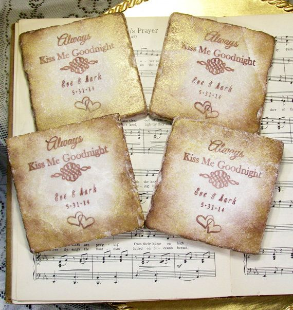 Always Kiss Me Goodnight Personalized Wedding Coasters Bridal Registry Gift Set of 4 for Bride and Groom Wedding Drink Coasters