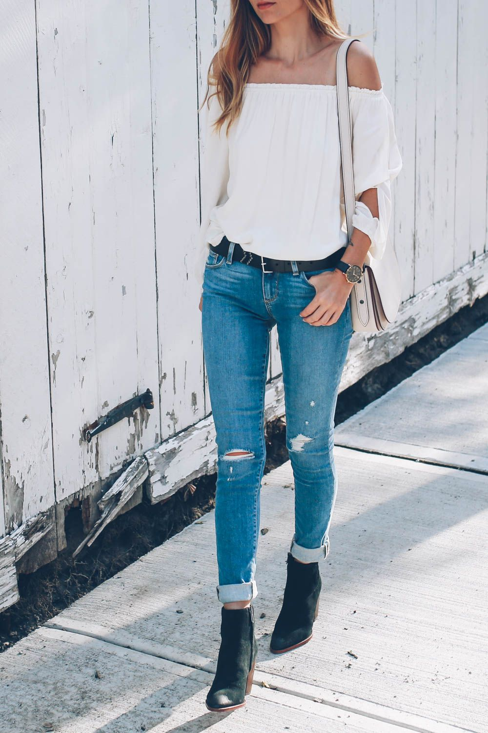 2784579e77d20b Sanctuary off the shoulder blouse with paige skinny jeans and sam edelman  ankle boots