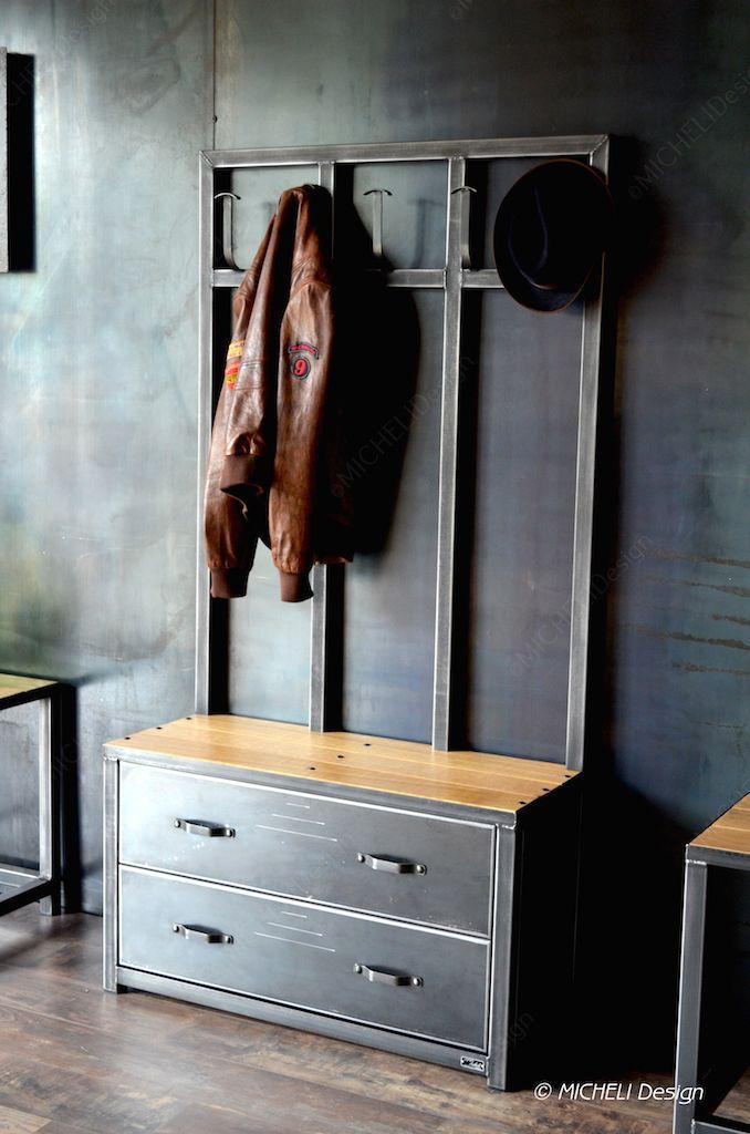 Banc / Vestiaire en bois et métal - Meuble d\'entrée de Style ...