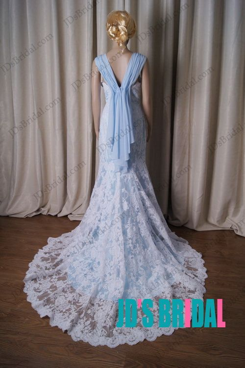 Lj188 Vintage Blue And White Lace Modified A Line Wedding Dress