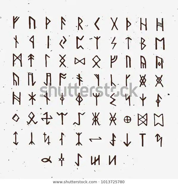 Set Old Norse Scandinavian Runes Runic Stock Vector Royalty Free 1013725780 In 2020 Old Norse Viking Quotes Norse