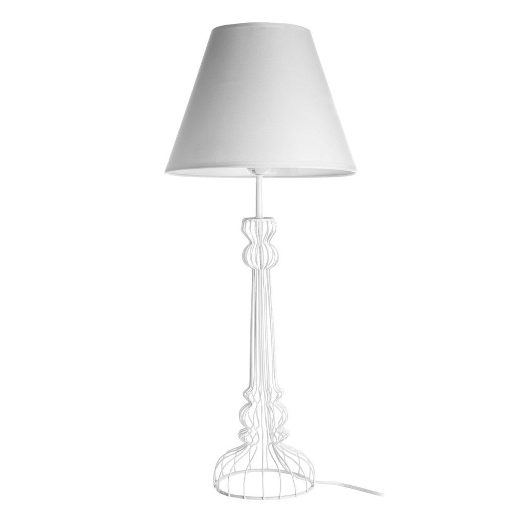 Chicago white table lamp metal wire base white shade lighting chicago white table lamp metal wire base white shade greentooth Images
