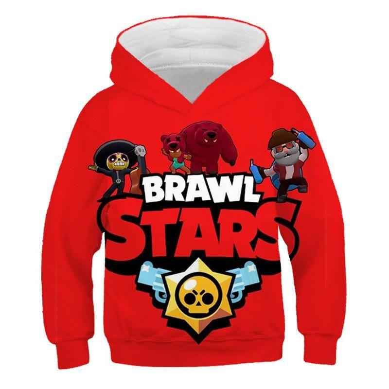 Pull Enfant Noel Brawl Stars Rouge Sweat à Capuche pour Enfant Sweat shirt à
