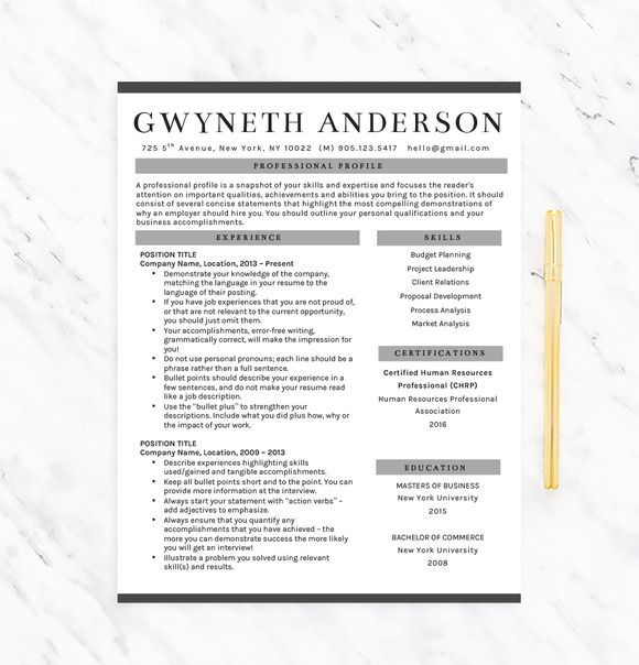 Professional Resume Template  - bullet points resume