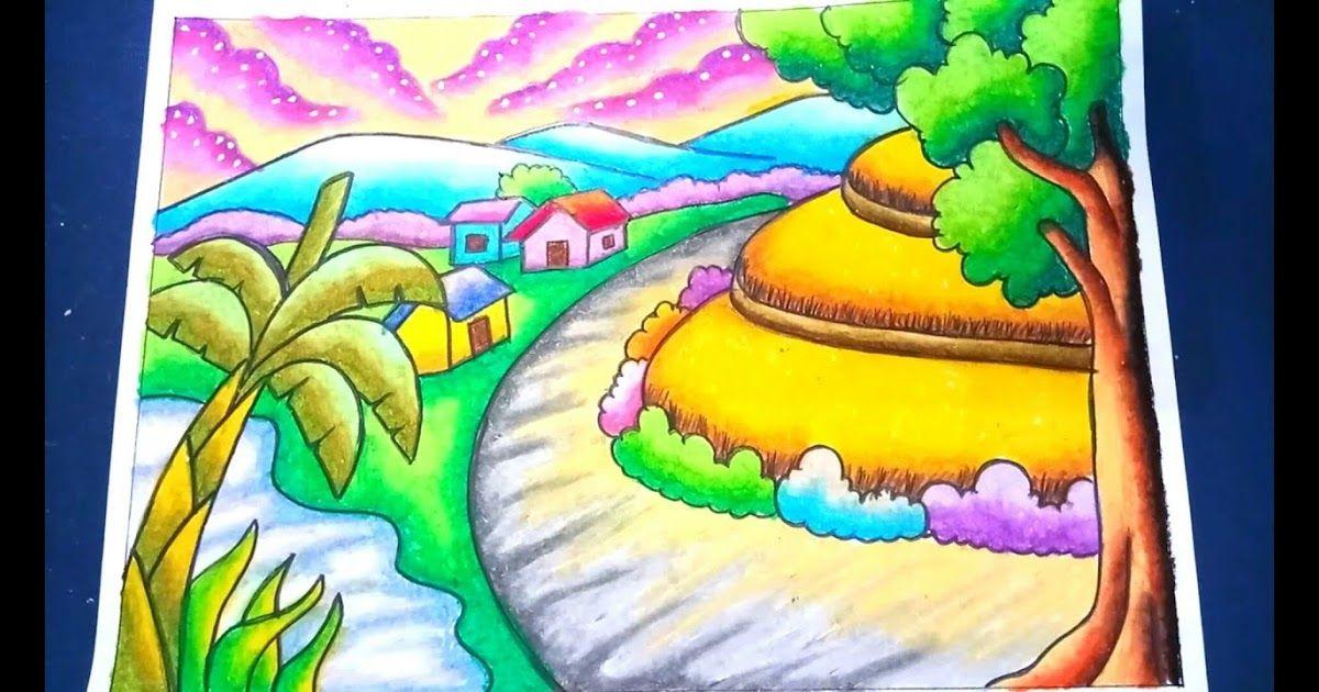 11 Gambar Pemandangan Alam Beserta Warnanya Menggambar Dan Mewarnai Pemandangan Alam Sawah 2 Dengan Gradasi Crayon Drawing Scenery Di 2020 Pemandangan Gambar Drawing