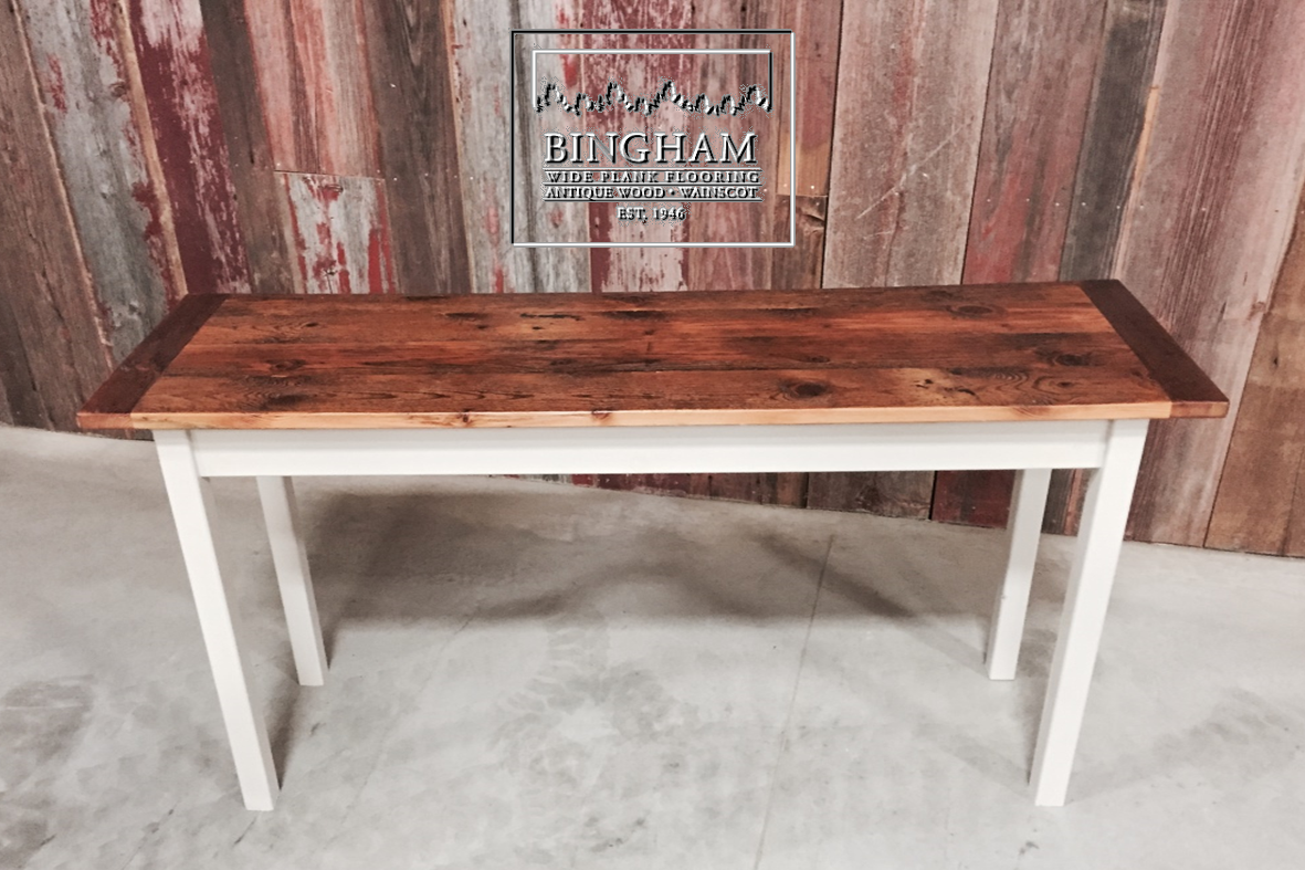 This sofa table has a reclaimed pine top with more of a for Coffee table texture