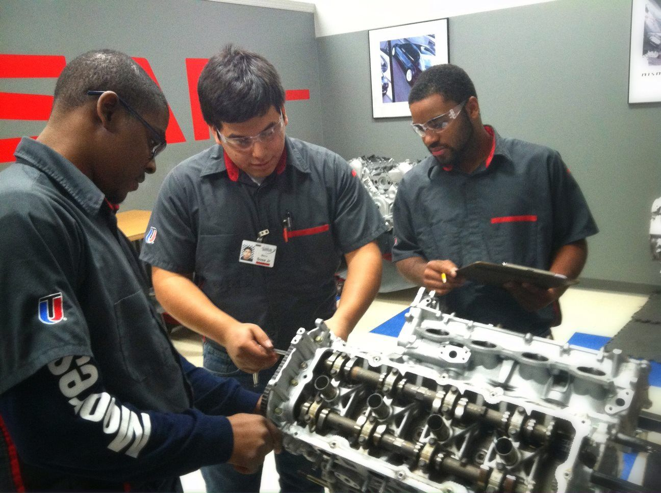 These Students Are Working On A Nissan Vk Series Engine While
