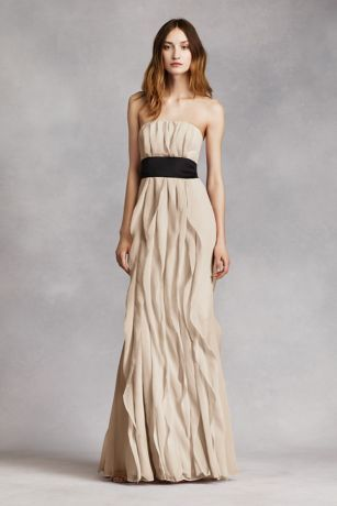 Strapless Crinkle Chiffon Dress with Mikado Sash Style VW360102     Long  soft  strapless dress features beautiful bias cut flanges Black Mikado  sash is included