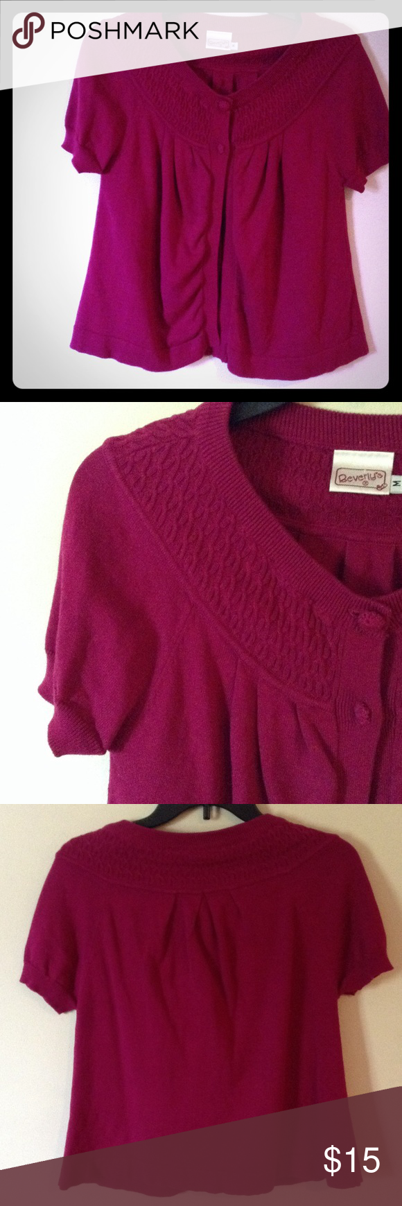 Dark pink short sleeve cardigan | D, Pink and Sweater cardigan
