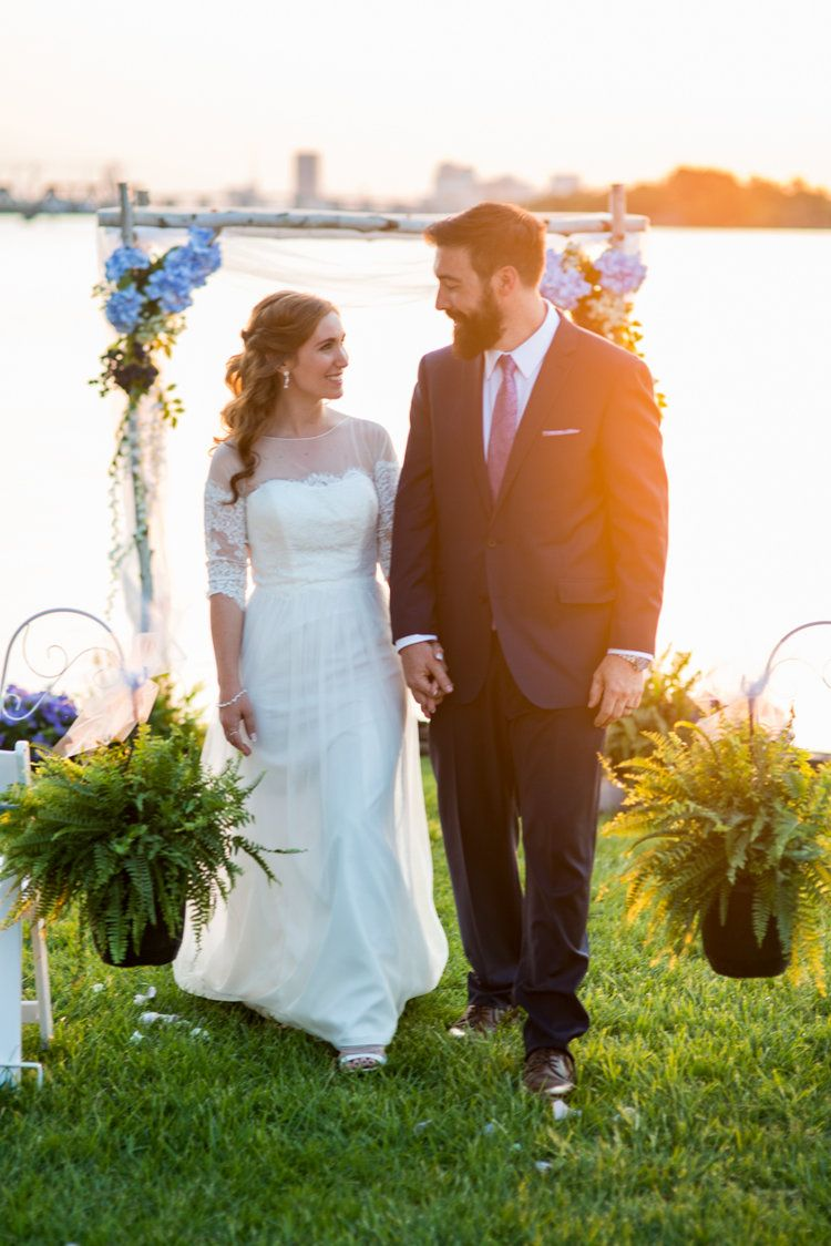 Intimate Backyard Summer Wedding On The Water Sunset Bride And Groom Portraits