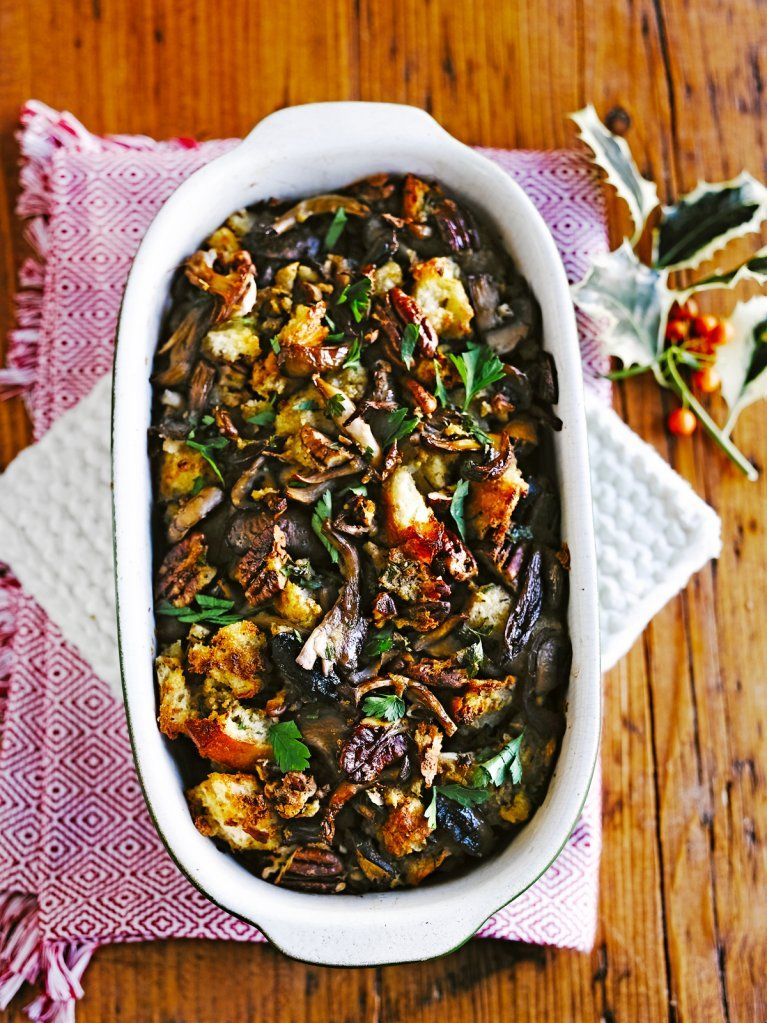Vegetable Dishes For Christmas.Mixed Mushroom Stuffing