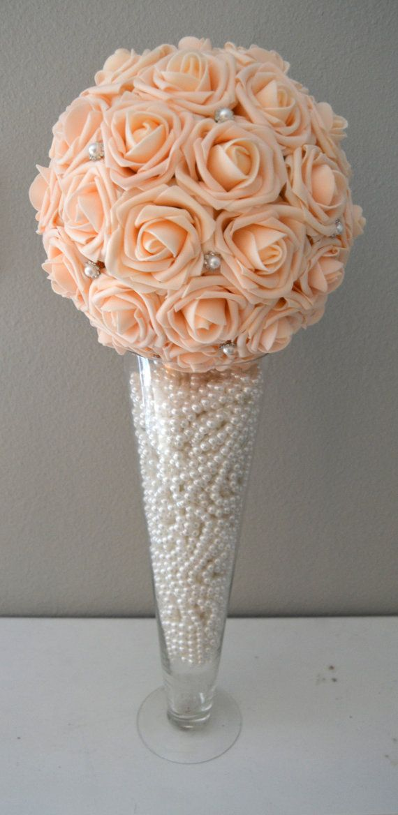 Peach blush bling pearl brooch elegant wedding foam flower