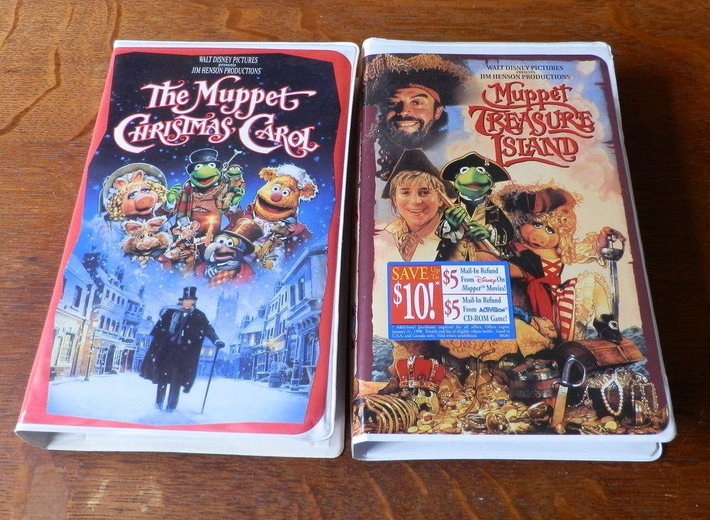 Muppet Christmas Carol Vhs.Lot Of 2 Disney Muppet Vhs Treasure Island The Christmas