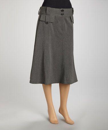 Charcoal Gray Herringbone A-Line Skirt by Joy Mark