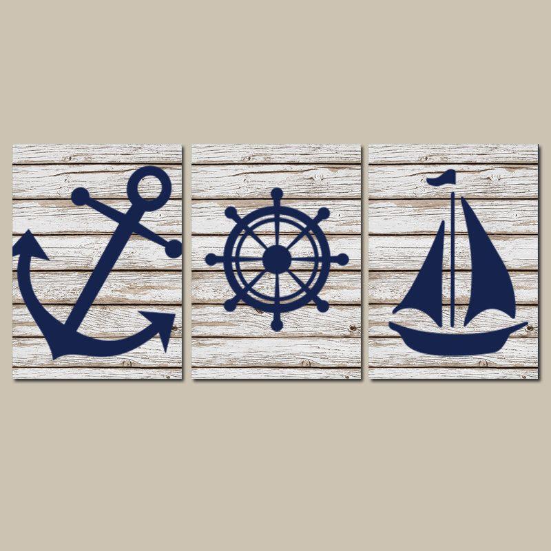 Exceptional Nautical Wall Art, CANVAS Or Prints Distressed Wood Effect Background Boy  Nursery BATHROOM DECOR, Navy Ocean Anchor Boat Wheel Set Of 3 By TRMdesign  On Etsy ...