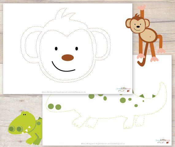 Mono y del cocodrilo de rastreo para imprimir gratis