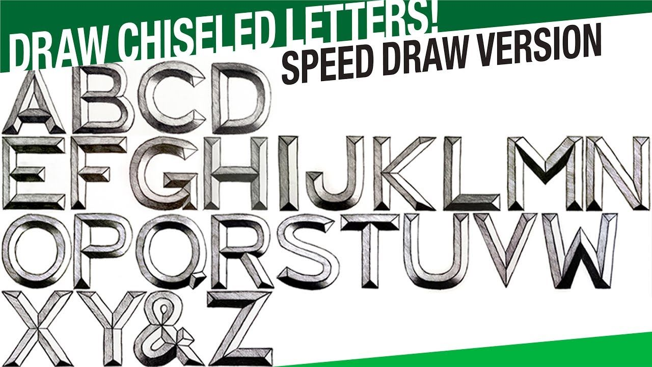 Speed Draw Version   Draw 3D Letters A To Z Chiseled! Draw Stone Carved .