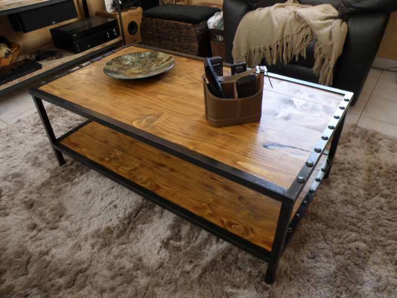 table basse style industriel loft deux plateaux tables. Black Bedroom Furniture Sets. Home Design Ideas